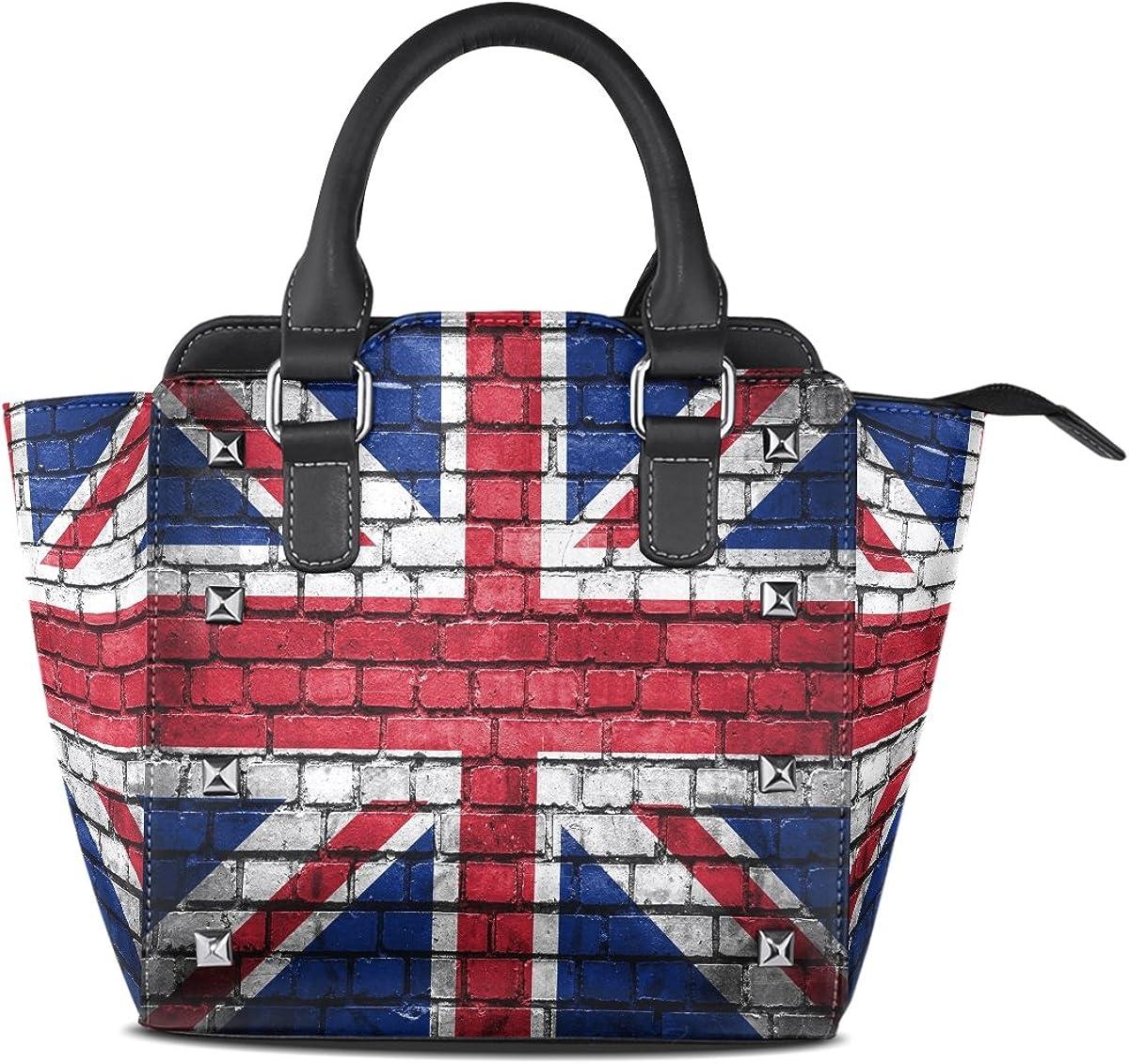 Use4 Brick Wall Union Jack Rivet PU Leather Tote Bag Shoulder Bag Purse