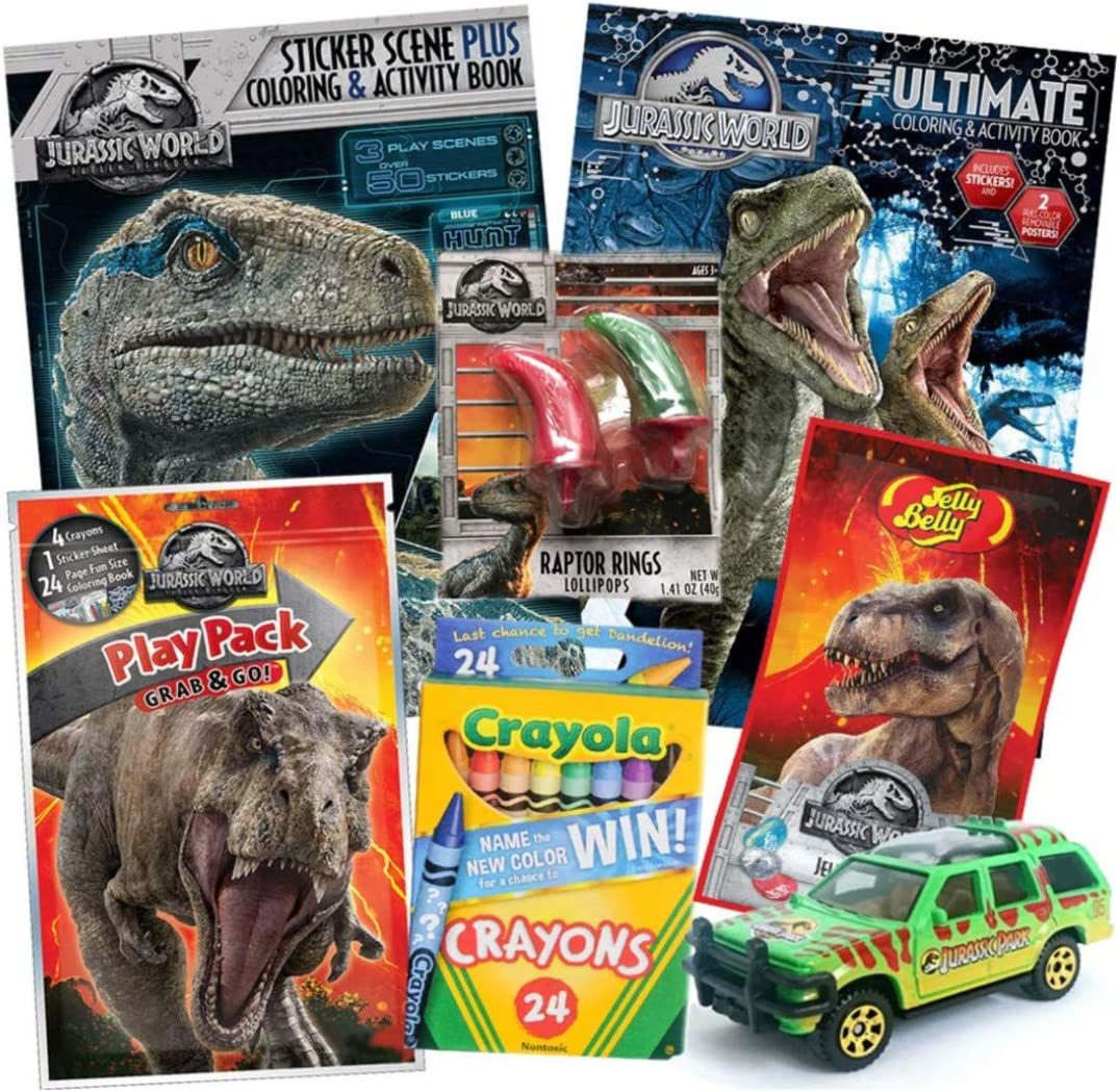 Amazon Com Jurassic World Fallen Kingdom Coloring Book Toy Set 8 Pack Trex Raptor Activity Books Mystery Jurassic Park Matchbox Car Crayons Dinosaur Candy Raptor Claw Lollipop Ring For Children Ages 4 10 Toys