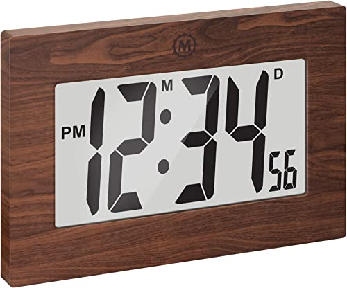 Marathon Large Digital Wall Clock with Fold-Out Table Stand. Size is 9 inches with Big 3.25 Inch Digits – Batteries Included – CL030064WD Wood Tone