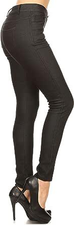 YELETE Women's Basic Five Pocket Stretch Jegging Tights Pants Khaki