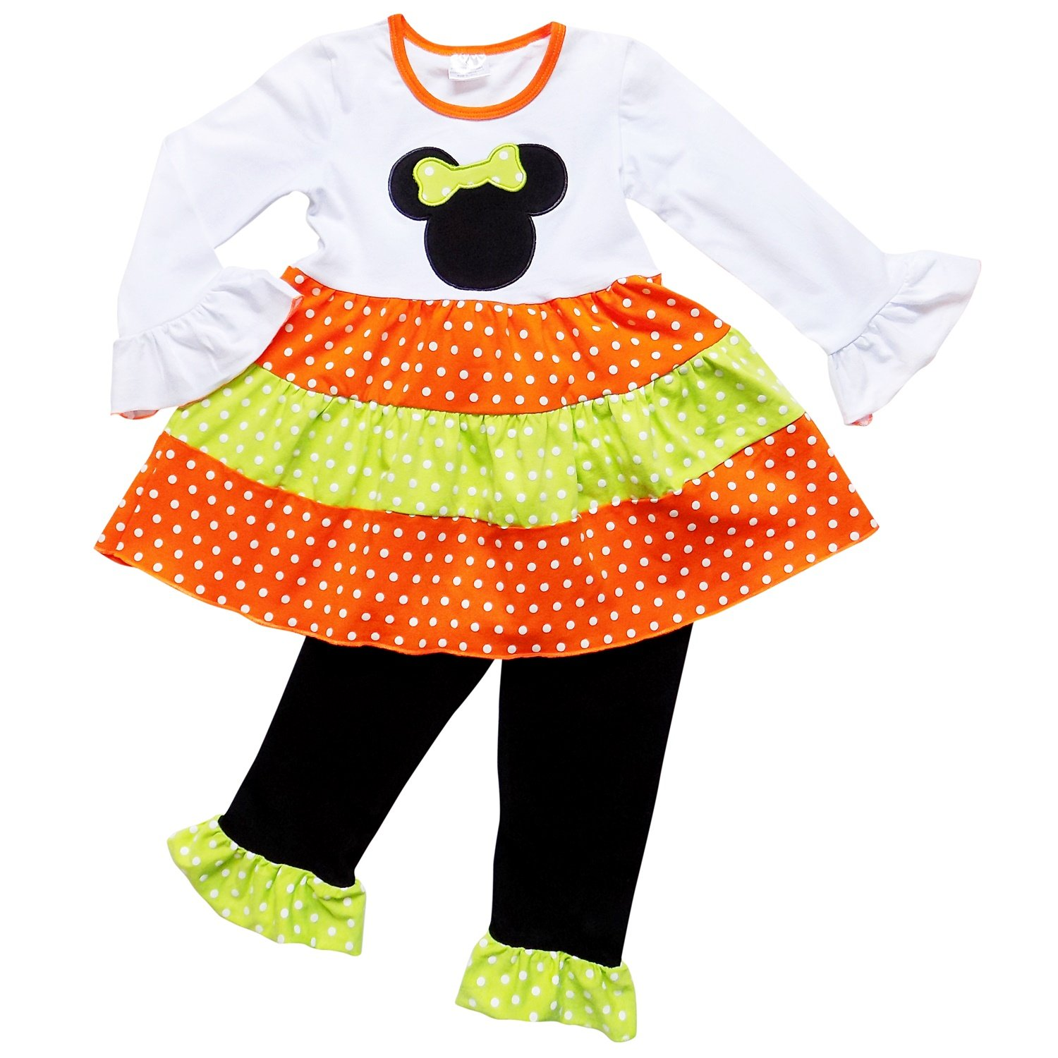 So Sydney Girls Halloween Pumpkin, Candy Cat - 2 Piece Ruffle Pants Outfit PPSP-L