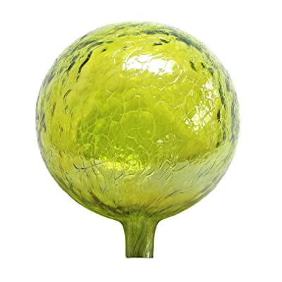 Glass Gazing Ball Lemon Yellow Iridized 12 Inch by Iron Art Glass Designs : Garden & Outdoor