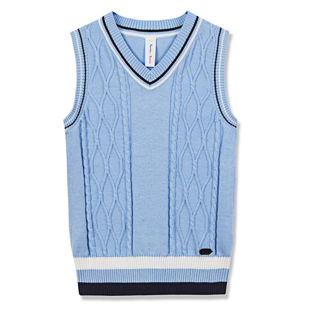Benito & Benita Sweater Vest School Vest V-Neck Uniforms Cotton Cable-Knit Pullover for Boys/Girls 2-12Y 7BS005