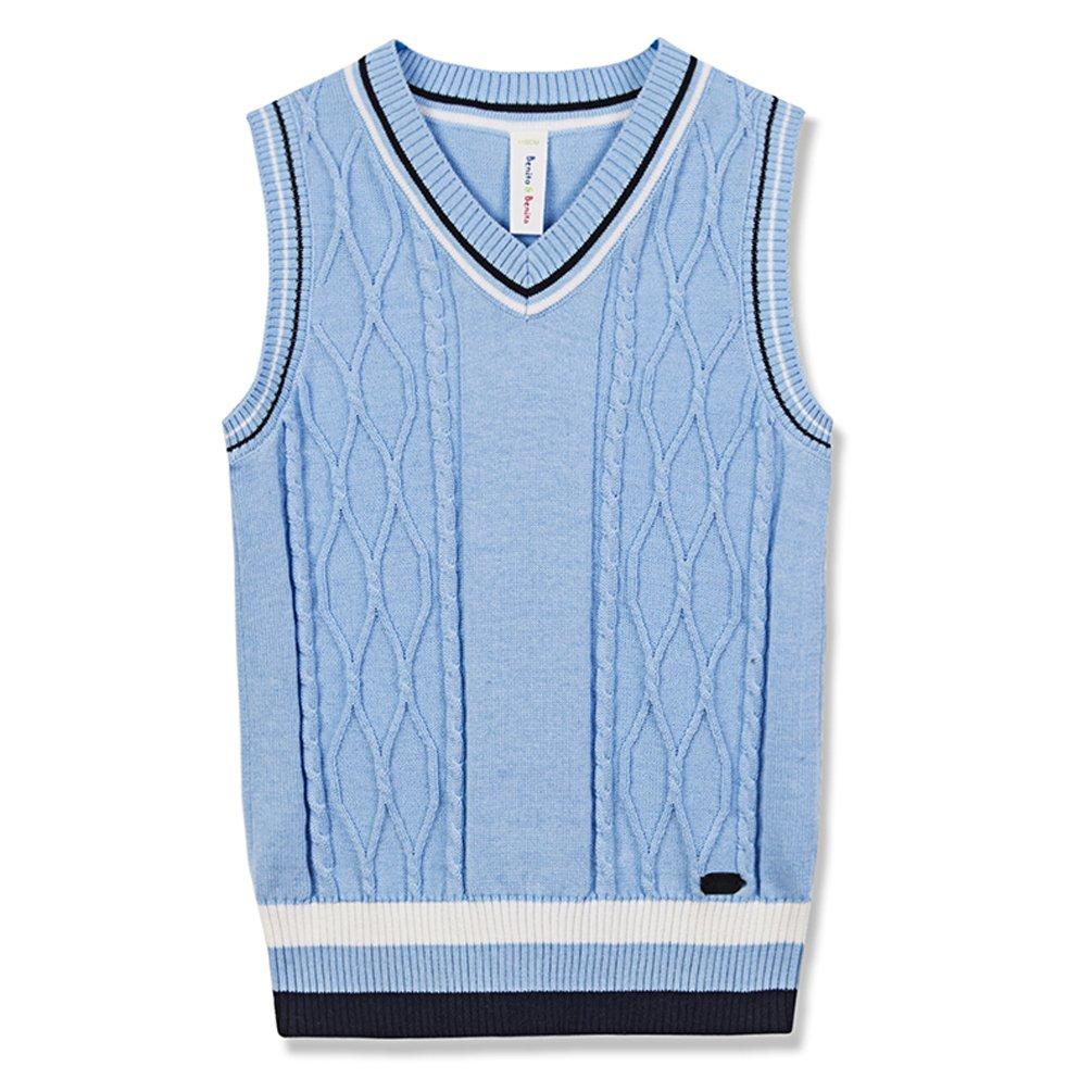Benito & Benita Sweater Vest School Vest V-Neck Uniforms Cotton Cable-Knit Pullover for Boys/Girls 2-12Y Light Blue by Benito & Benita (Image #1)