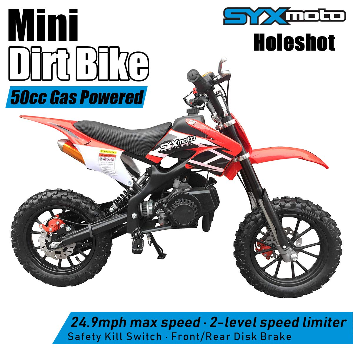 Fully Automatic Transmission SYX MOTO Kids Mini Dirt Bike Gas Power 2-Stroke 50cc Motorcycle Holeshot Off Road Motorcycle Holeshot Pit Bike Orange