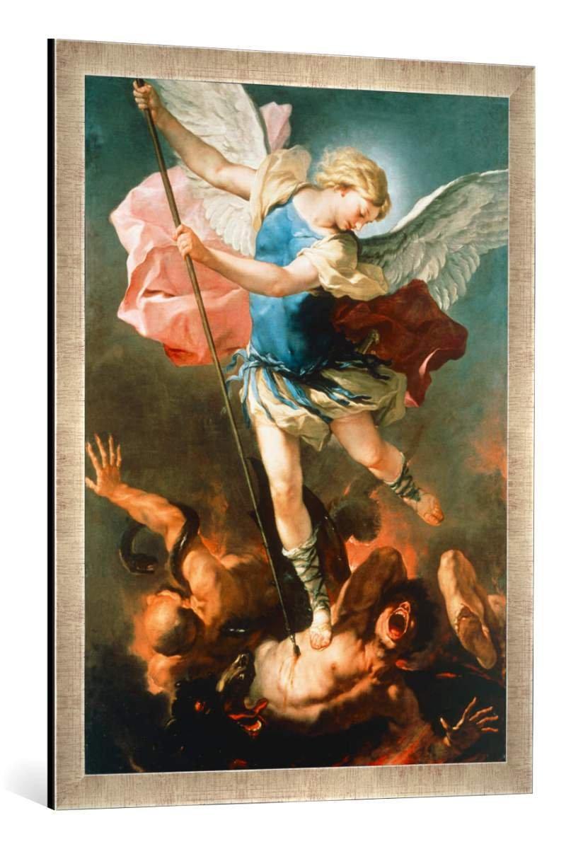 Gerahmtes Bild von Luca Giordano Der Erzengel Michael, Kunstdruck im hochwertigen handgefertigten Bilder-Rahmen, 60x80 cm, Silber Raya