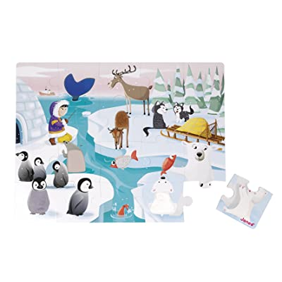 Janod 20 Piece Tactile Sensory Life on The Ice Puzzle Toy – Rigid Cardboard Box for Organized Storage – Store Everything Inside & Easily Transport – Texturedpiece - Cognitive Development - Ages 3+: Toys & Games