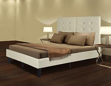 olee sleep 14 inch dura metal faux leather wood slate bed frame burton full 14pb03f - Slate Bed Frame