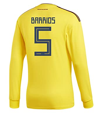 b8e9d8b0c55c adidas Barrios  5 Colombia Home Men s Long Sleeve Soccer Jersey World Cup  2018 (S
