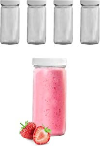 8 Oz Glass Bottles With Lids, 4 Glass Juice Bottles For Juicing With White Caps, Bulk Glass Smoothie Containers