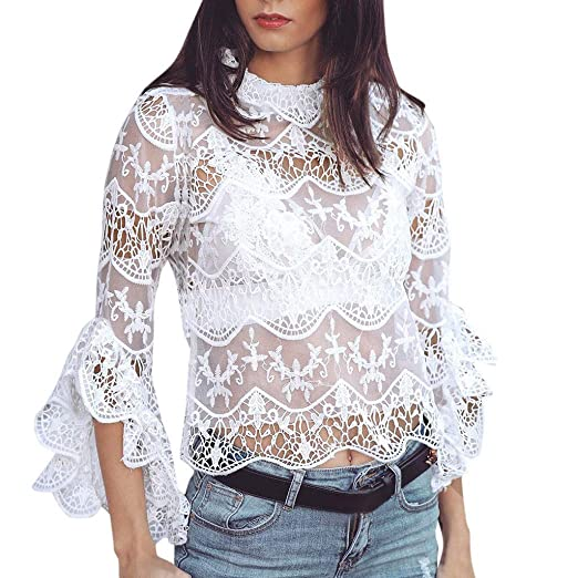 20666d4dfc0d1 Amazon.com  Women Sexy Cropped Top Lace Howllow Out Sheer Party Shirts  Blouse Flare Sleeve  Clothing