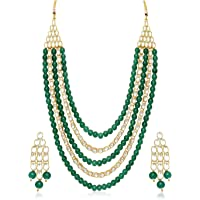 Sukkhi Gold Plated Kundan Pearl Fancy Haram Necklace Set Traditional Jewellery Set with Earrings for Women & Girls (N73505_D1)