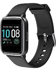 (Neuest 2019)GRDE Smartwatch,Bluetooth V5.0 Fitness Armbanduhr Voll Touchscreen Fitness Tracker 5ATM Wasserdicht Sportuhr mit Pulsuhren Schrittzähler Musiksteuerung Anruf SNS Damen Herren