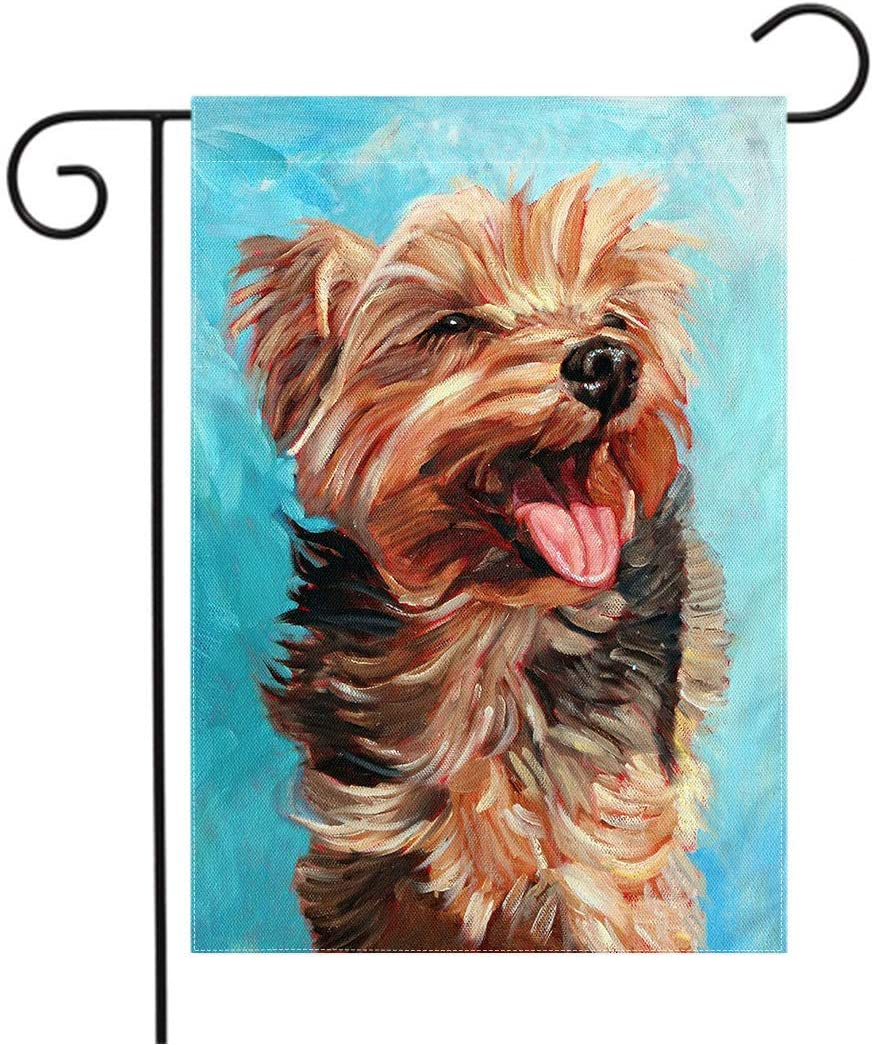 Happy Yorkie Garden Flag Custom - Dog All-Weather Flag Small Puppy Outdoor Seasonal Flags 12 x 18 Double Sided House Flag Pet Dog Flag Holiday Yard Decor