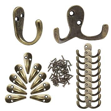 Yotako Ganchos decorativos para pared para colgar llaves, sombreros o ropa, de bronce rústico, 10 ganchos dobles, 10 ganchos sencillos y 50 tornillos