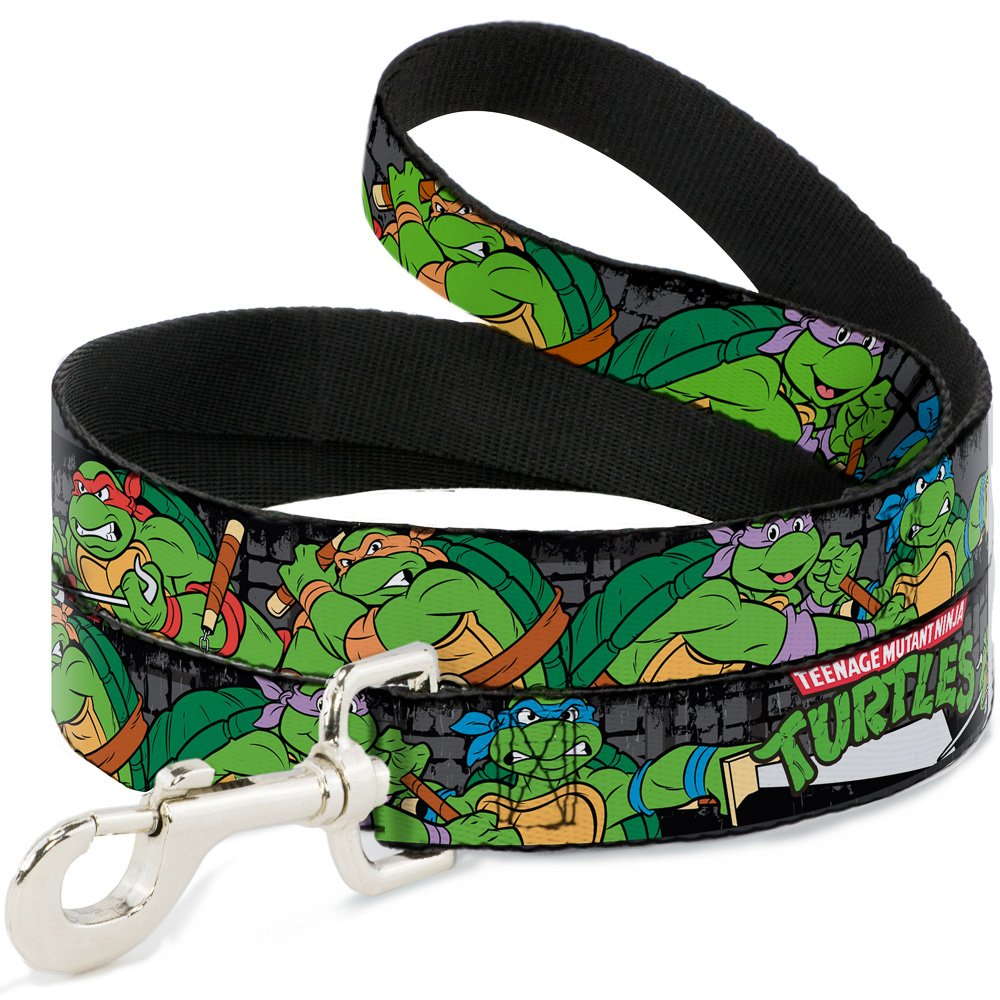 Buckle-Down Classic TMNT Group Pose4 in Sewer TMNT Logo  Pet Leash, 6'-1.5