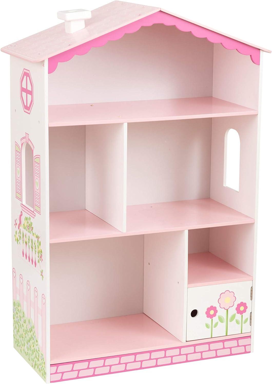 KidKraft- Dolls House Cottage Estantería de madera con diseño de casa de muñecas, mueble expositor para dormitorio de niños, estantería con espacio ...