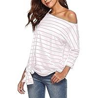YOINS Schoudervrij bovenstuk dames sexy zomer T-shirts 3/4 mouw off shoulder tuniek strepen longshirt tops voor dames