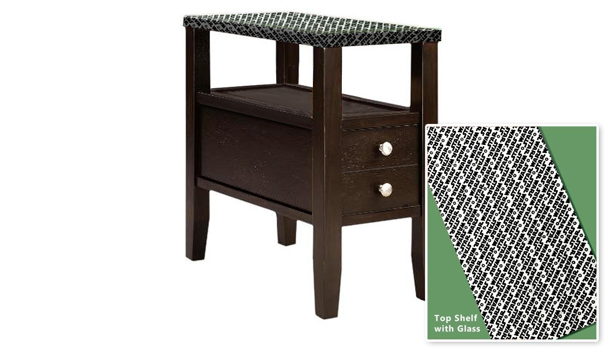 New Cappuccino / Espresso Finish Wooden End Table Night Stand with Drawer featuring Star Wars Themed Top With Glass Table Top