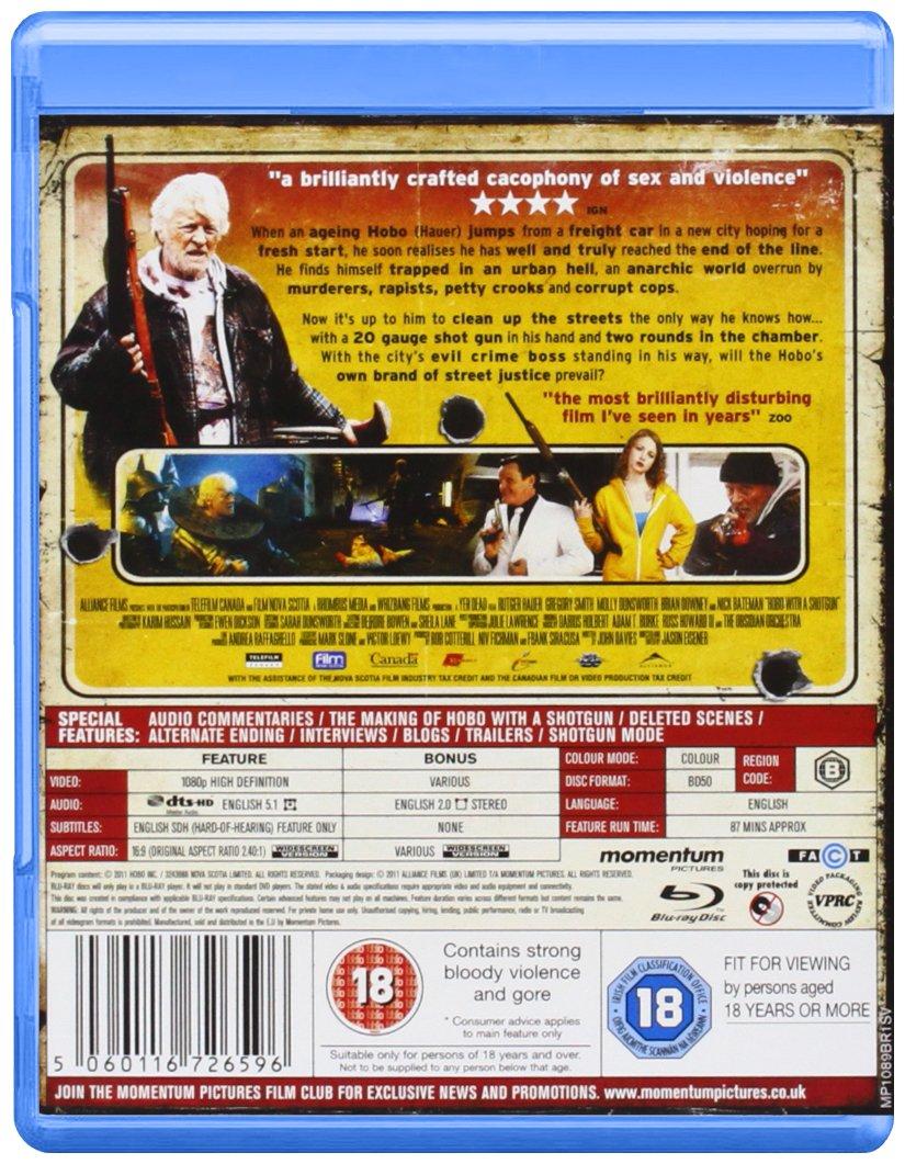 Hobo With A Shotgun Blu Ray Import Anglais Rutger Trailer Wiring Colour Code Uk Hauer Molly Dunsworth Brian Downey Nick Bateman Drew Ohara Jason Eisener Movies