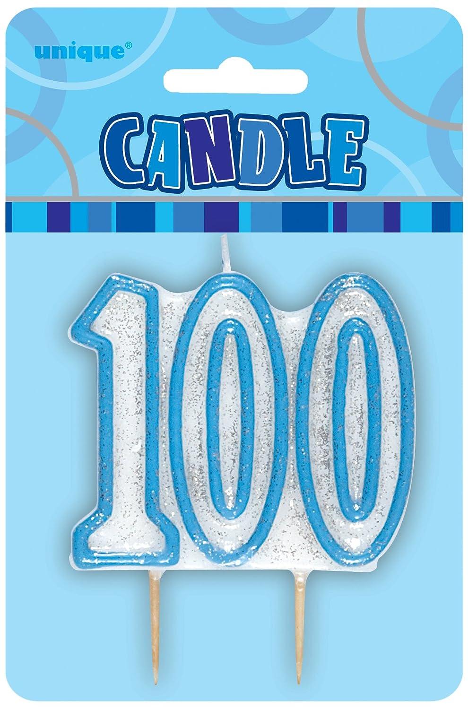 Unique Party Glitz 100th Birthday Candle (Blue) 34437