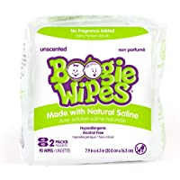 Boogie Wipes Natural Saline Nose Wipes for Kids and Babies, Unscented, 90-Count