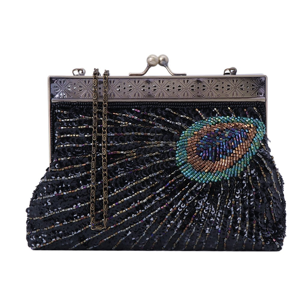 Numkuda Lady Evening Handbag Noble Pearl Beaded Elegant Bridal Prom Handbag Wallet Clutch Purse Peacock Style (black)