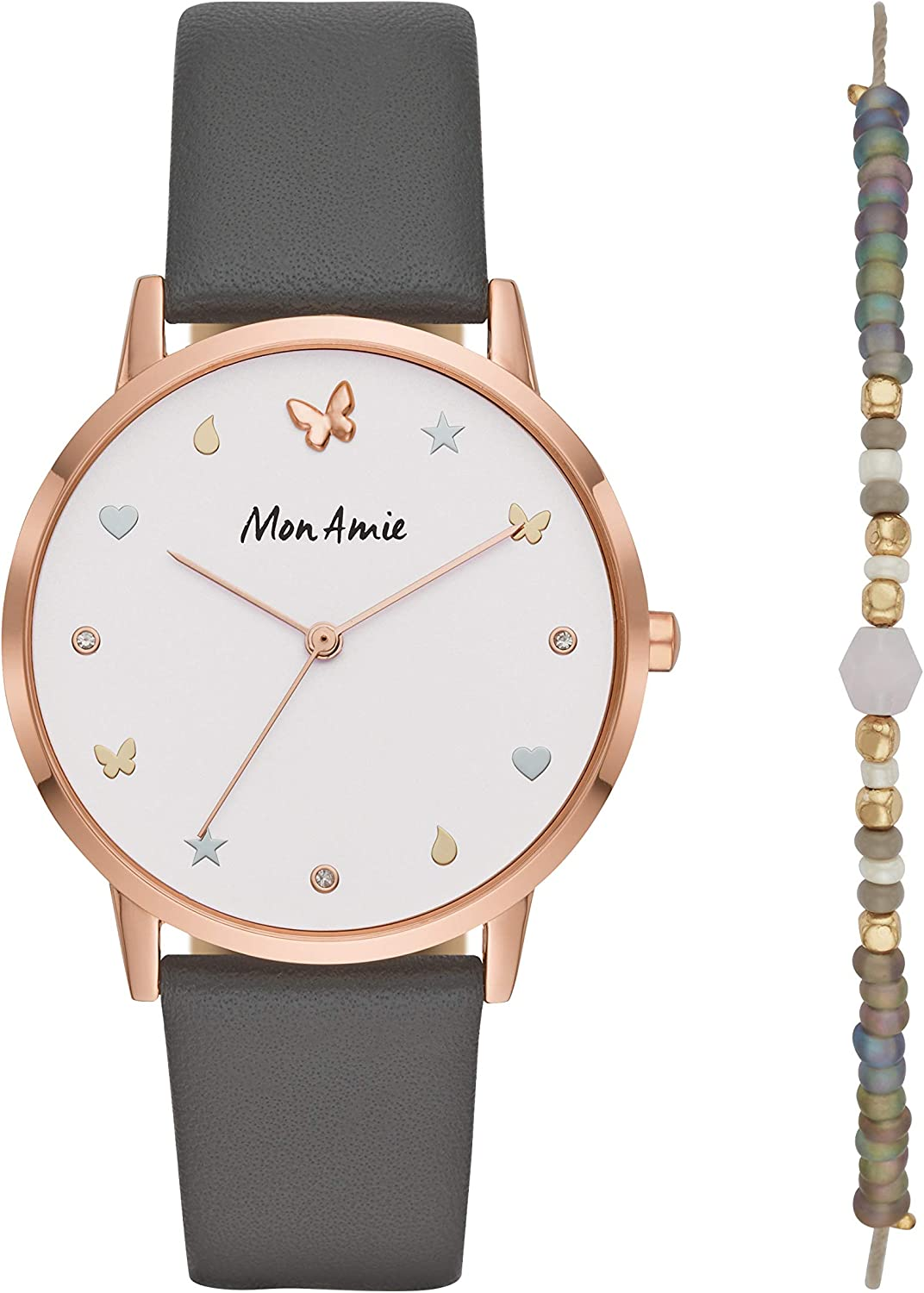 Mon Amie Women s Supports Opportunity Quartz Leather Strap, Grey, 18 Casual Watch Model CBMA2503