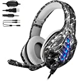 YJY J1 Gaming Headset for PS4,PC, Xbox One Controller,Noise Cancelling Over Ear Headphones with Mic, 7 Colors LED Light, Bass