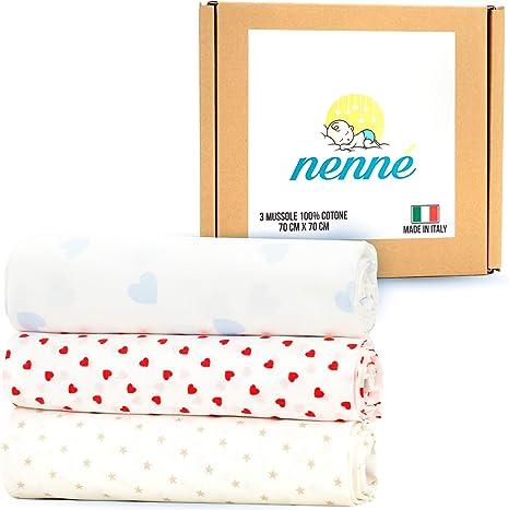 nenné Muselina bebe recién nacida, 100% algodón suave, fabricado en Italia – Swaddle multiuso paquete de 3 - Sábanas mantas para cuna cochecito de bebé, unisex, de algodón ligero, 70 x 70 cm: Amazon.es: Hogar