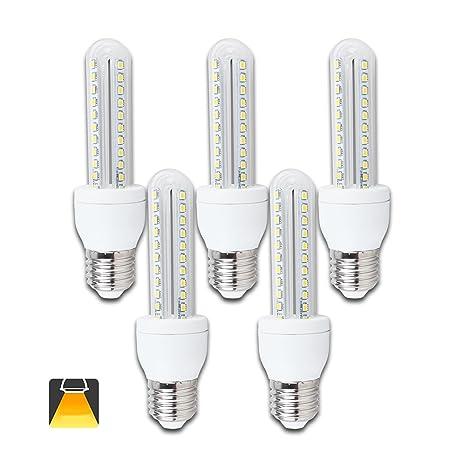 Pack de 5 Bombillas LED B5 T3 2U, 8W, casquillo gordo E27, luz