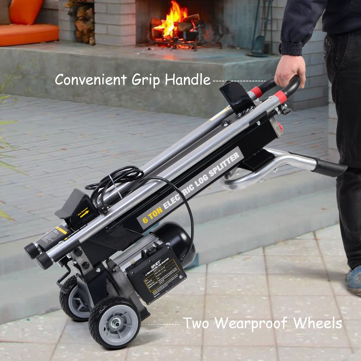 0b0e3afa3507 Goplus 6 Ton 1500W Hydraulic Electric Log Splitter Powerful Portable Wood  Cutter with Mobile Wheels