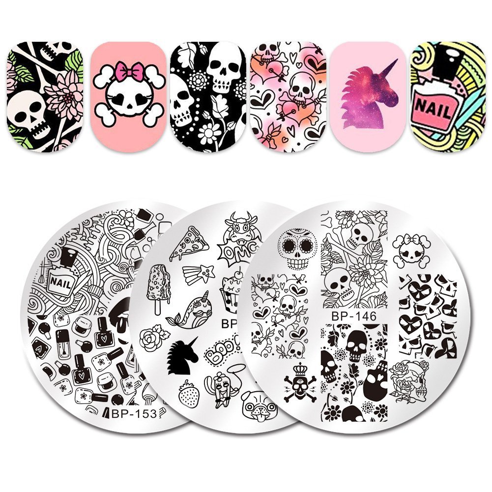BORN PRETTY 3Pcs Nail Art Stamping Plate Skull Flower Heart Summer Manicure Image Plate DIY Nail Print Tool