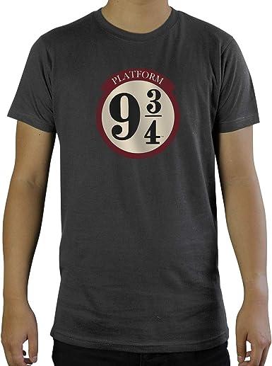 ABYstyle - Harry Potter - Camiseta - Andén 9 3/4 - Gris Oscuro - Hombre: Amazon.es: Ropa y accesorios