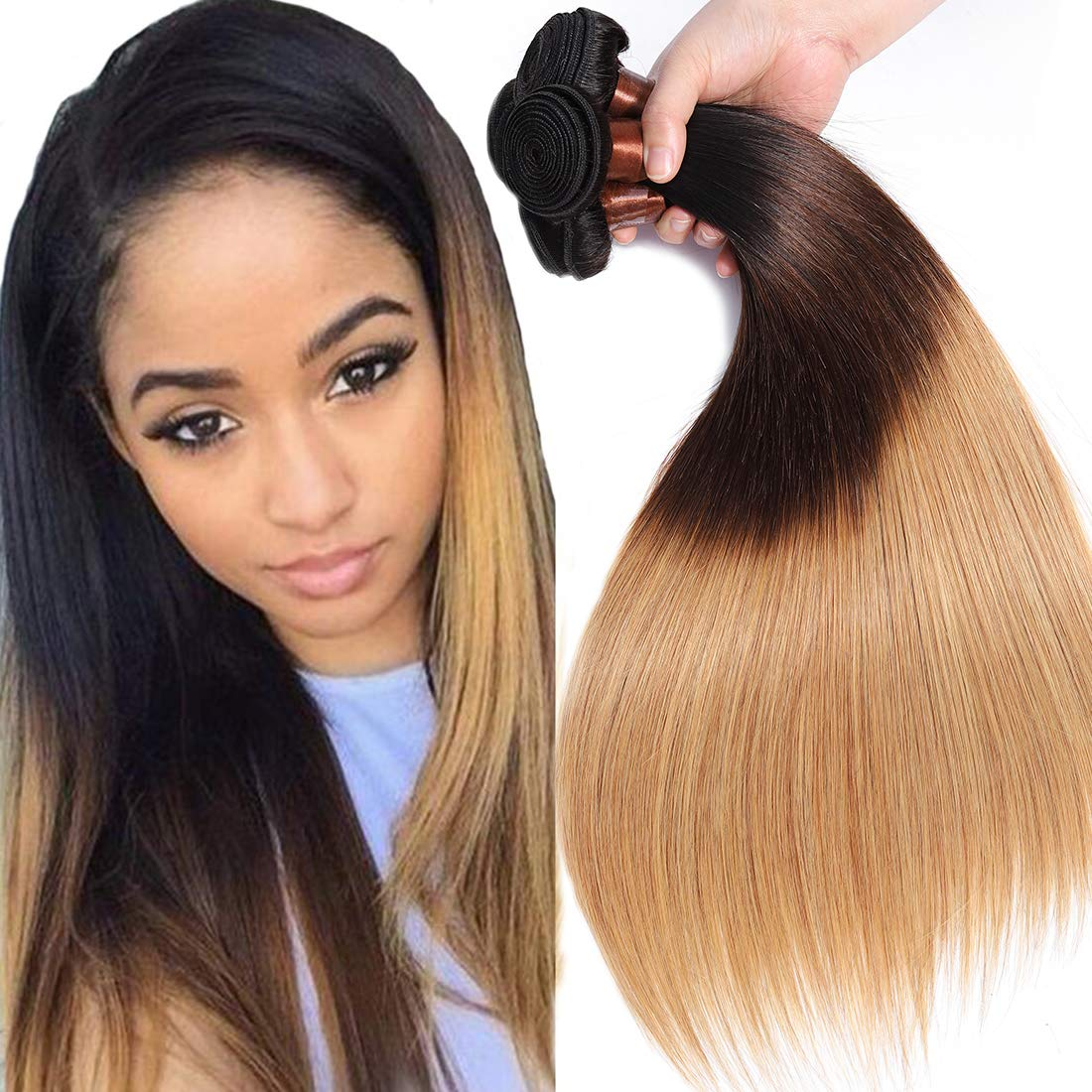 Amazon Com Cranberry Hair Ombre Brazilian Virgin Hair Straight Hair Weave Bundles Three Tone Color Human Hair Weaving Blonde Hair T1b 4 27 16 18 20 22 Beauty