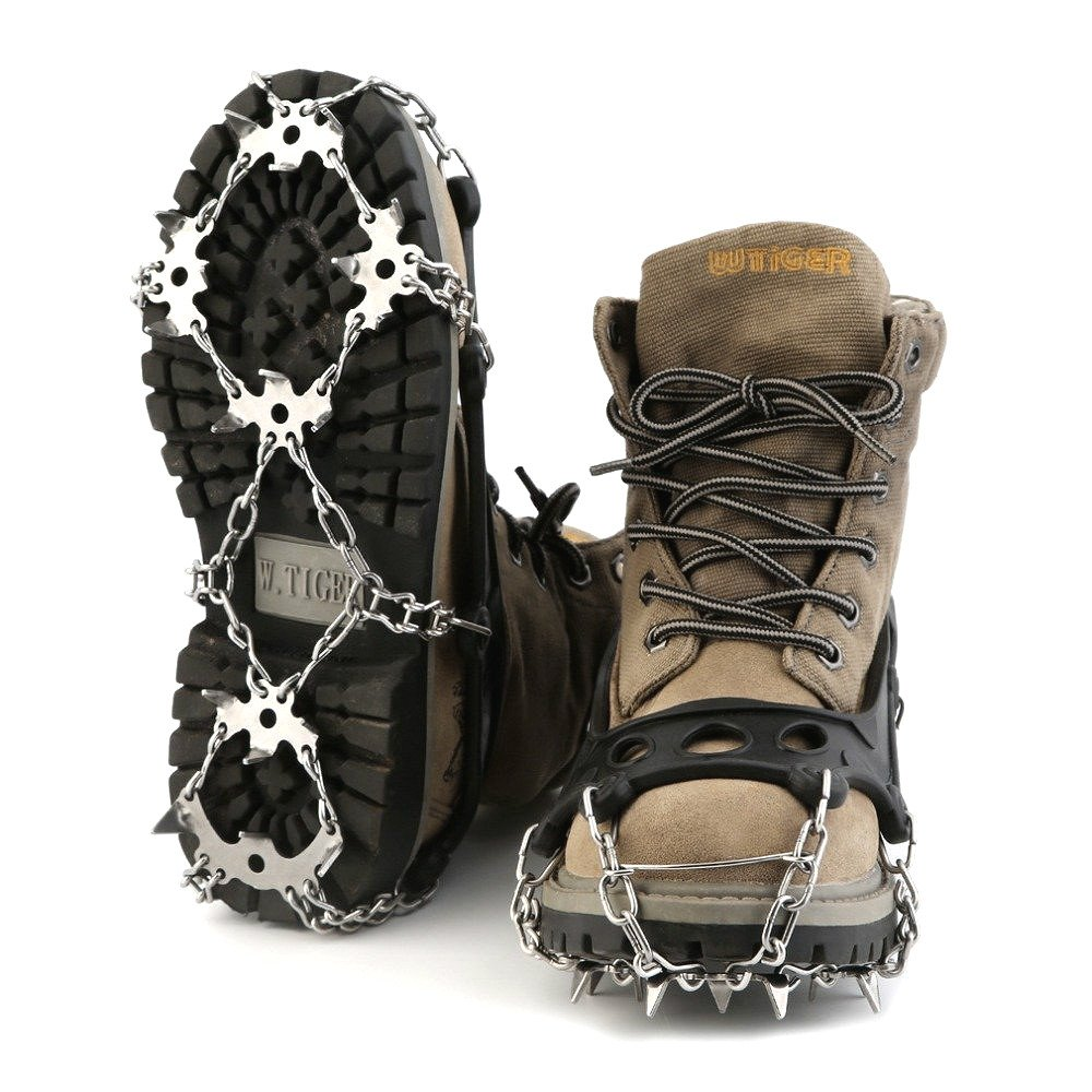 Isafish Ice Traction Cleats Shoe/Boot Grip 12-Stud Steel Chain Nonslip Spikes Crampons for Outdoor Ice Fishing Walking Hiking Camping Mountaineering Climbing Hunting