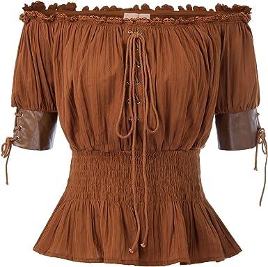 Belle Poque Top Mujer Steampunk Blusa Victoriana Medieval Top Retro Vintage Mid-Long Lace Flying 100% ALGODÓN: Amazon.es: Ropa y accesorios