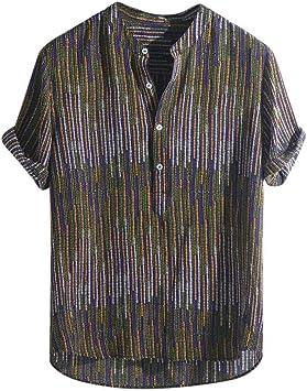 CHENS Camisa/Casual/Unisex/XL Camisa de Verano para Hombre Tallas Grandes para Hombre Étnico Estampado Stand Collar Colorido Raya Manga Corta Camisa Henley Suelta: Amazon.es: Deportes y aire libre