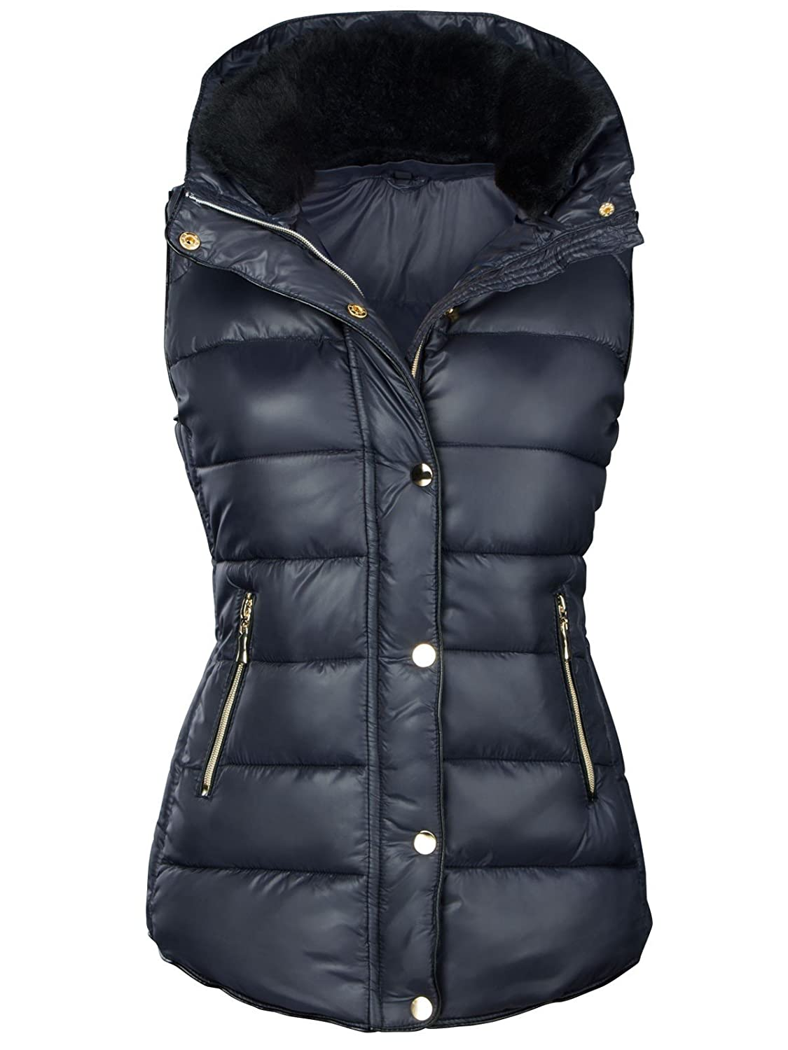 DAMEN WINTER STEPP WESTE DAUNEN LOOK WARM JACKE KAPUZE FELL KRAGEN
