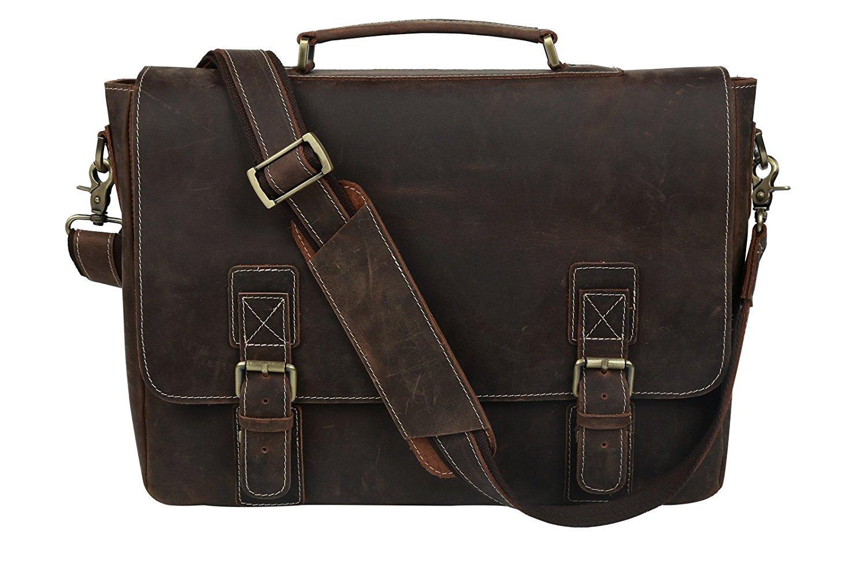 Leather Satchel Briefcase, 16'' Laptop Messenger Shoulder Bag Tote for Men