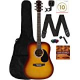 Fender Squier Dreadnought Acoustic Guitar - Sunburst Learn-to-Play Bundle with Gig Bag, Tuner, Strap, Strings, Picks, String
