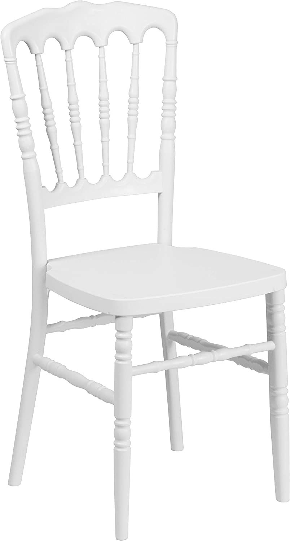 Flash Furniture HERCULES Series White Resin Stacking Napoleon Chair