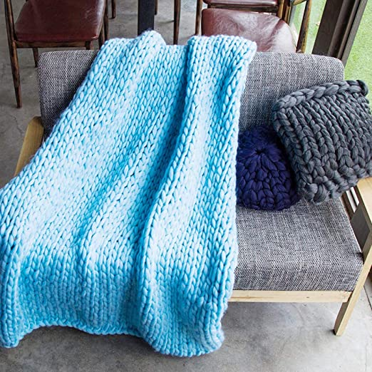 gao Handmade Giant Soft Thick Chunky Knitted Blanket Cozy ...