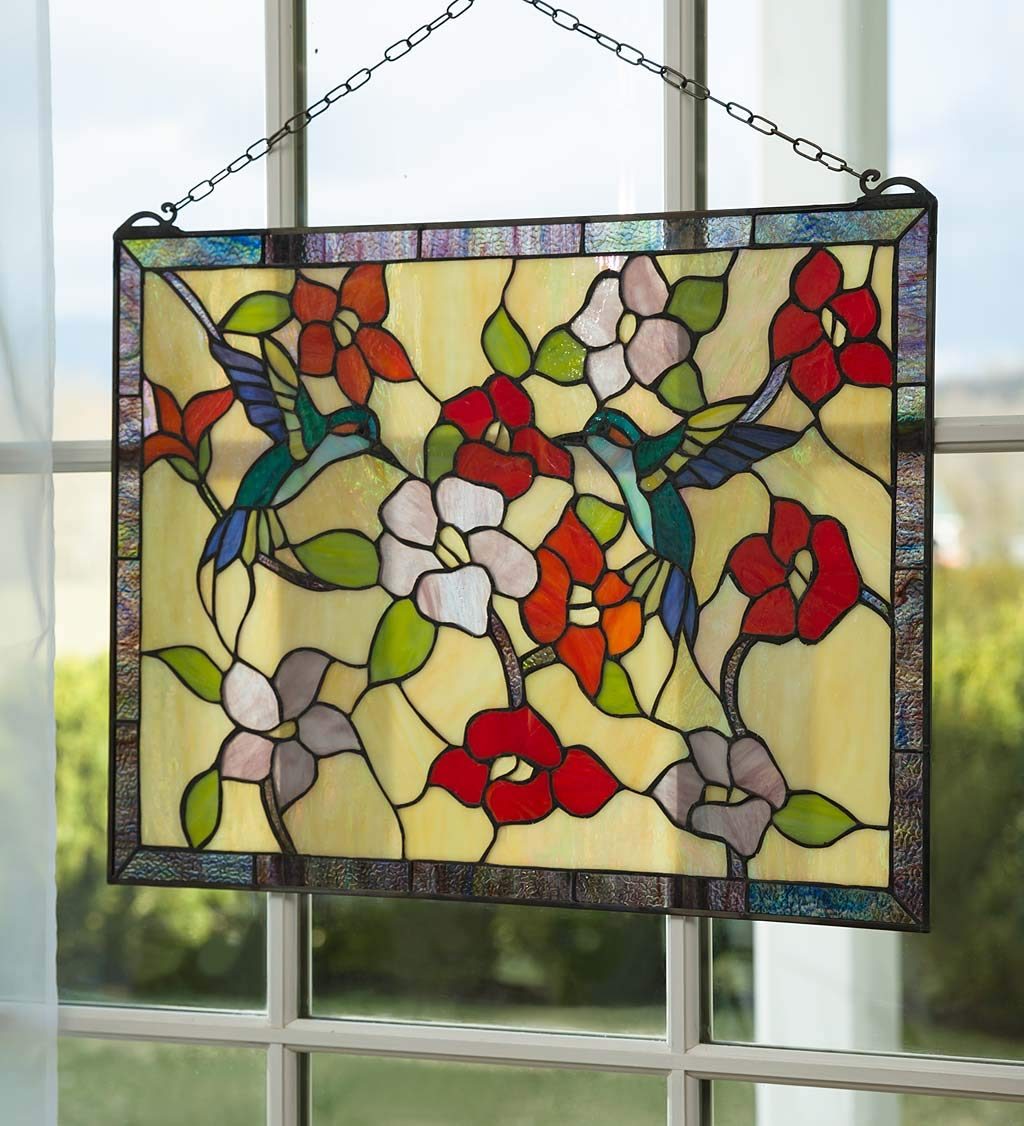 Plow & Hearth Hummingbird Garden Stained Glass Panel - 24 L x 18 W x 18.63 H