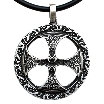 Amazon celtic sun solar cross sunwheel pewter pendant pewter celtic sun solar cross sunwheel pewter pendant pewter pendant charm amulet necklace black pvc cord aloadofball