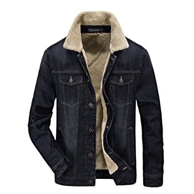 Zicac Men Denim Jacket Cowboy Parka Sherpa Fleece Lining Blazer Lined Jean  Cardigan Military Outerwear Winter 10bca731b62