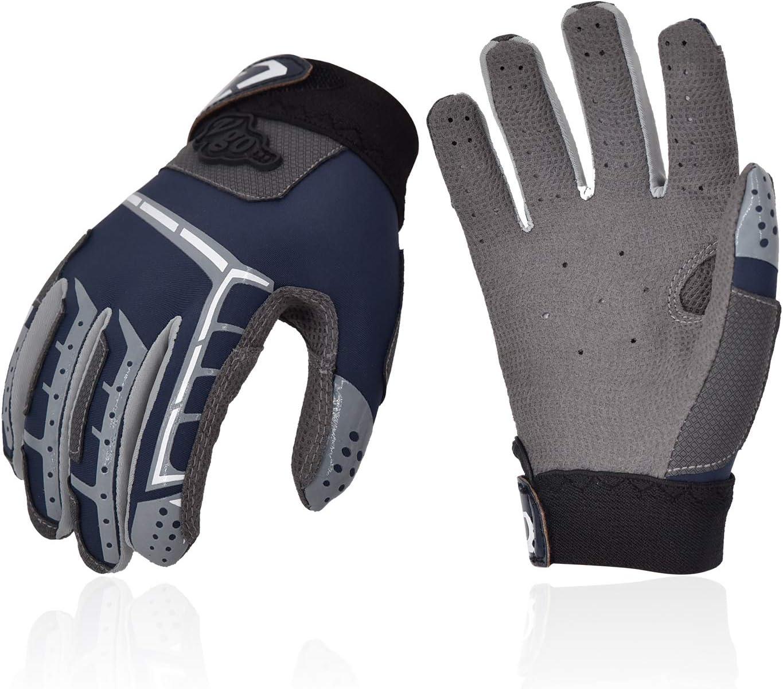 Vgo.. Junior Baseball Batting Gloves Breathable Anti-Slip Soft Goatskin Leather Palm Blue/&Red, SL9677