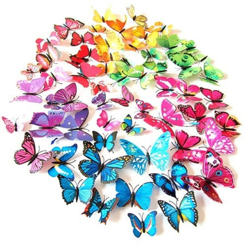 Hot Sale!!12 Butterfly Stickers,Woaills Living Room Decoration Landscaping Decoration Heart Shaped Sticker (Multi-colored)