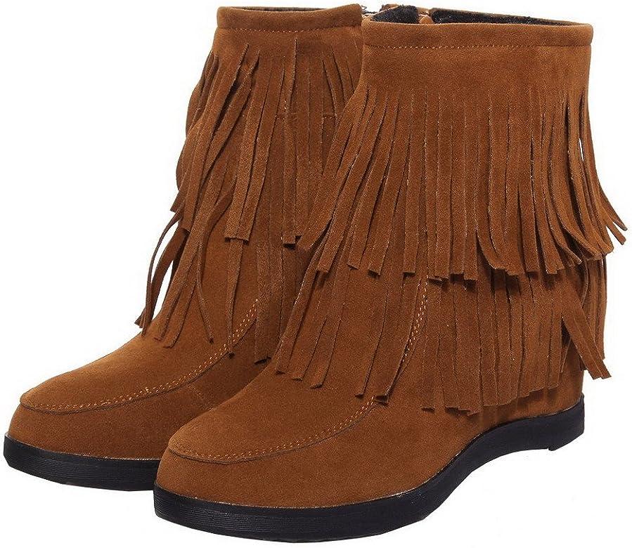 dcbc221af AgeeMi Shoes Femme Rond à Talon Haut Couleur Unie Suede Zip Haut Bas ...