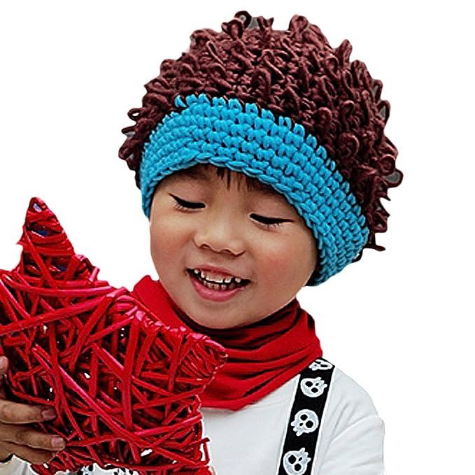 d46aabb82a3a LOCOMO Baby Knit Crochet Rib Afro Bob Clown Wig Fake Hair Beanie Hat ...